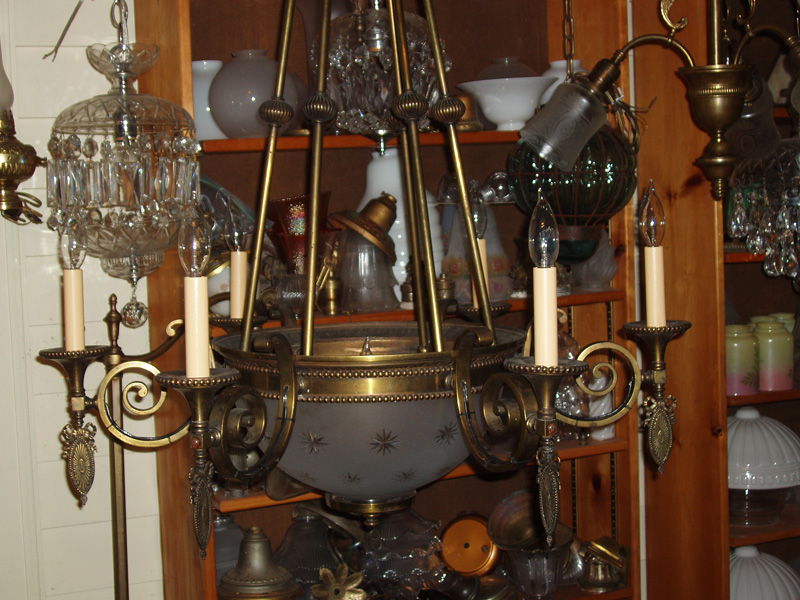 Amazing Seven Light Gas Chandelier Etched Bowl
