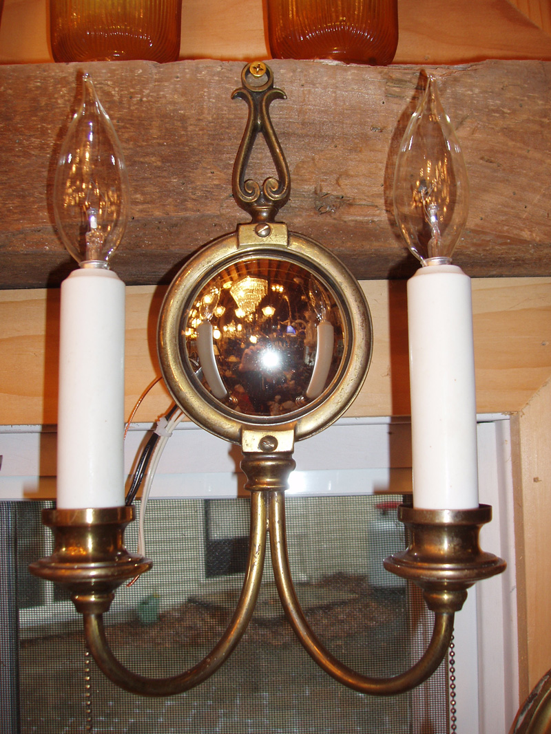 Pair of Mirrored Brass Wall Sconces, Bradley & Hubbard